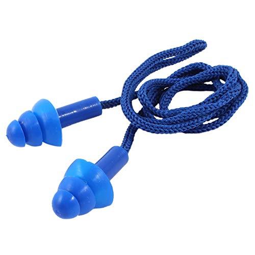 Naisicatar 5 Piezas 24dB con Cable de Seguridad Suave Jelli Tapones Protección Auditiva Muffs - Azul Navidad