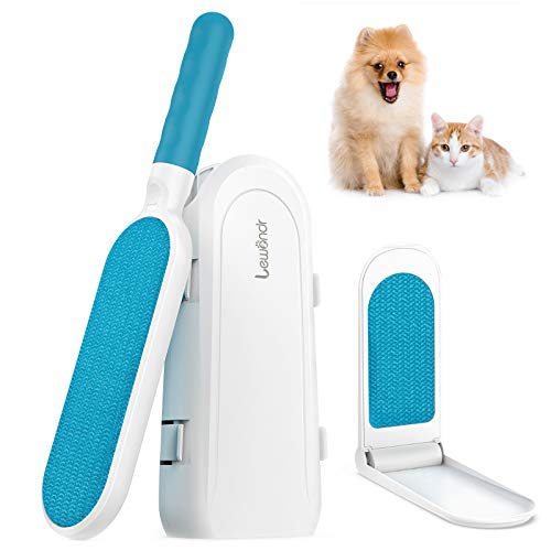 Lewondr Portable Pet Hair Remover, Double Sided Fur & Lint Brush with Self-Cleaning Base, 1 Travel Size Removal Brush Easily Remove Cat and Dog Hair on Clothing, Couch, Carpet, Car Seat - White & Blue