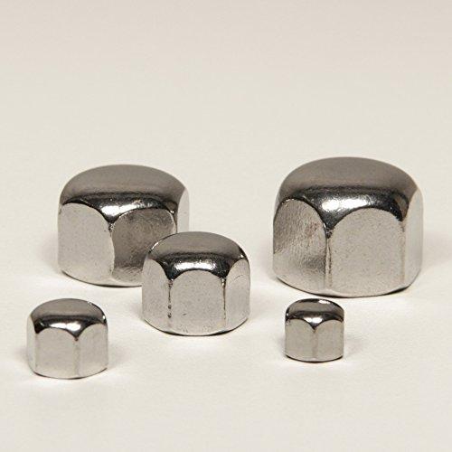 DERING Hutmuttern M5 niedr. Form DIN 917 Edelstahl A2 (30 Stück) | Sechskantmutter | Sechskant-Mutter | Sechskant-Hutmuttern | niedrige Form | rostfrei