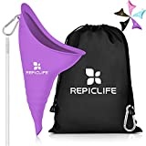 Female Urination Device,Female Urinal Reusable Portable Women Pee Funnel Urine Cup Allows Pee Standing Up,Compact for Car Travel Camping Hiking,with Drawstring Bag,Carabiner,Extension Tube-Purple