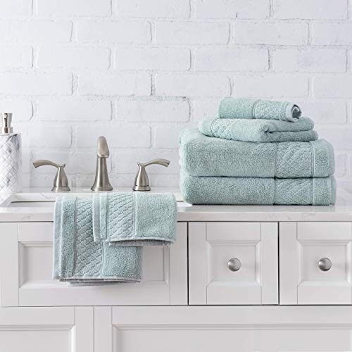 Welhome Hudson 100% Pure Organic Cotton Quality 6 Piece Luxury Bath Towel Set  Durable  High Absorbency  Hotel Spa Bathroom Towel  651 GSM  2 Bath  2 Hand  2 Wash Towels  Mineral