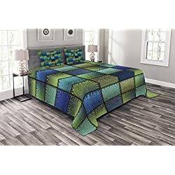 Ambesonne Colorful Bedspread, Modern Geometric Bohemian Paisley Details in Square Shaped Backdrop Pieces Artwork, Decorative Quilted 3 Piece Coverlet Set with 2 Pillow Shams, King Size, Blue Khaki