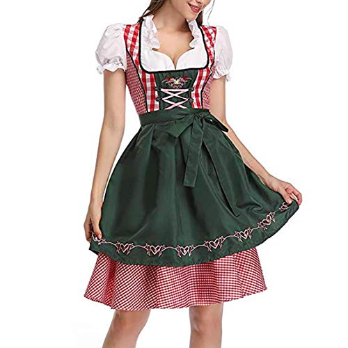Women's Bavarian Beer Maid Costume Plaid Dirndl Dress Tradtional German Oktoberfest Wench Fancy Dress (Dark Green, XL)