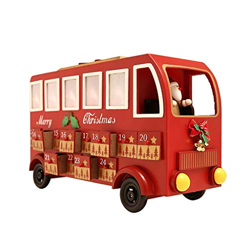 Weihnachtskalender Adventskalender Adventskalender Aus Holz Big Bus Countdown Adventskalender Erwachsene Kinder Adventskalender (Color : Red, Size : 41 * 23cm)