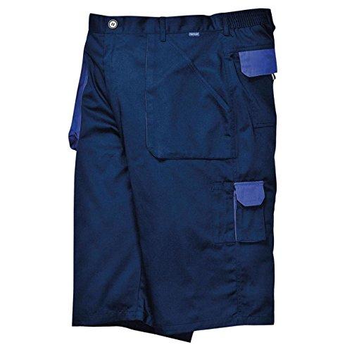 Portwest Neuf Adultes Style Cargo Poches Taille Élastique Contraste Short (TX14) - Bleu Marine, Large