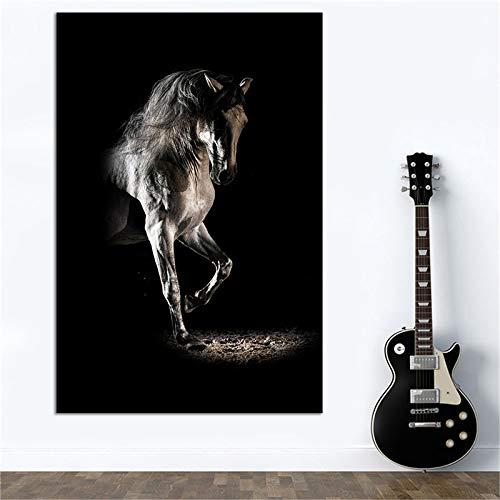 Schwarzes Pferd Fotografie Leinwand Foto moderne Tier Leinwand Malerei Wohnkultur Wandkunst rahmenlos Y010461 60x90cm