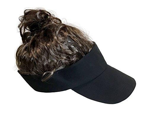 Billy-Bob Man Bun Visor, The World's First Man Bun Visor! Brown Hair!, Black, One Size