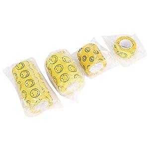 Pangdingk Schulzeit Softness Pet Bandage, Erste-Hilfe-Hundebandage, elastische Hunde für weiches Gefühl(Yellow Smiley)