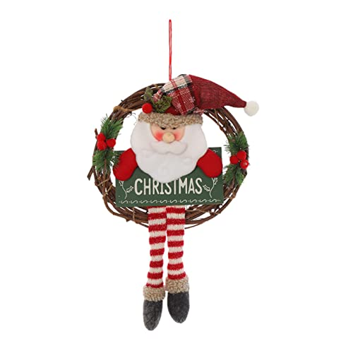 wwqasdfv Ghirlanda Natalizia in Rattan,Classico Pupazzo di Neve Ghirlanda di Babbo Natale Carino Ciondolo Bambola di Peluche a Gambe Lunghe Adorabile Gancio per Porta Creativo Festa di Natale puntell