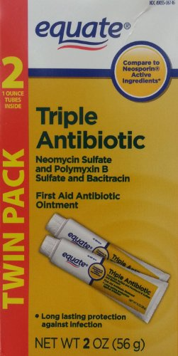 Equate Triple Antibiotic First Aid Ointment, 1 Oz Tubes (4 Tubes) [Packaging May Vary]