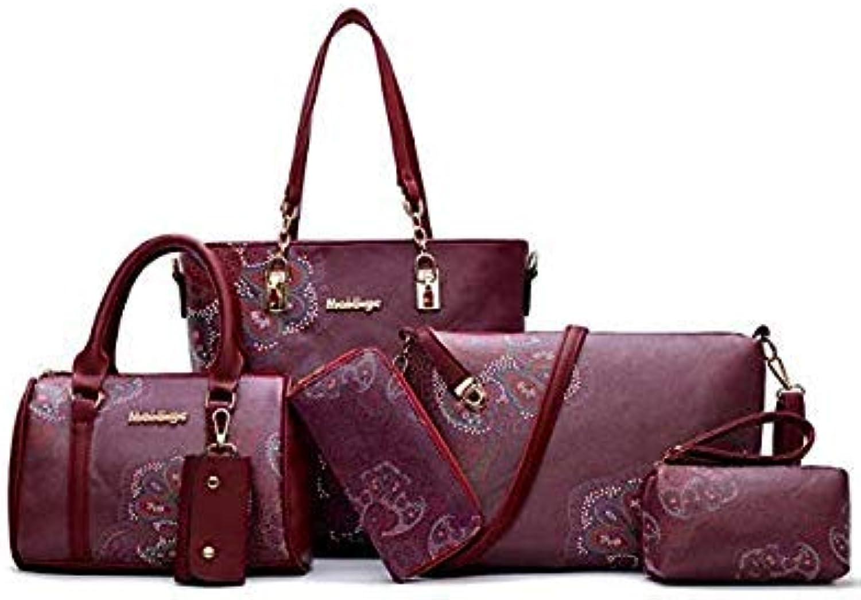 Women Handbag Leather Female Bag Fashion Cartoon Shoulder Bag high Quality 6 Piece Set Designer Brand Bolsa Feminina 4850 Red