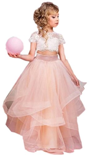 hengyud Lovely First Communion Dresses Coral Two Pieces Lace Ball Gown 16 White/Pink