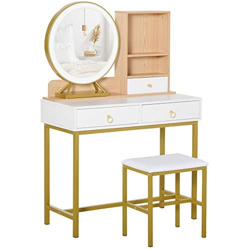giordano shop Consolle Trucco 90x40x125 cm con Specchio e Sgabello Bianco