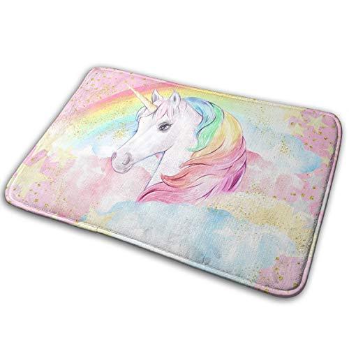NGFF - Alfombra de baño de terciopelo antideslizante y absorbente, diseño de estrellas de unicornio, color rosa pastel