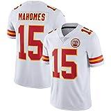 NMABY Mahomes Maillot De Football Américain Kansas City 15# pour Les Hommes Jersey De Rugby, Team Sportswear Fan Jersey Brodé Shirt Shirt Short White-3XL