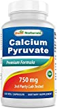 Best Naturals Calcium Pyruvate Fat-Burning Formula for Thighs, 750 mg 120 Capsules - Calcium pyruvate for Weight Loss