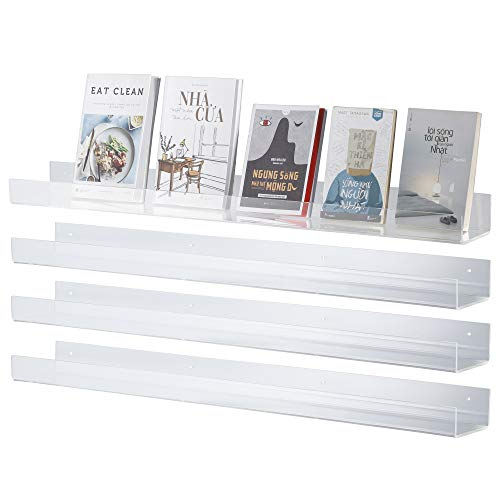"CRIZTA 36"" x 4.7"" Acrylic Floating Bookshelf (4 Pcs), 5mm Thick Crystal Clear Wall Ledge Shelf Wall Mounted Shelves for Books, Pictures, Phones, Small Toy Storage"