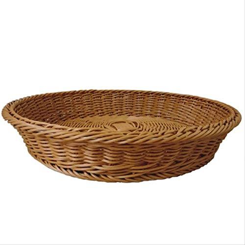 GJDBBLY Mand Rieten Handgemaakte Bamboe Weven Opslag Mand Fruit Plaat Plat Plantaardige Opbergdoos Waterdichte Vocht
