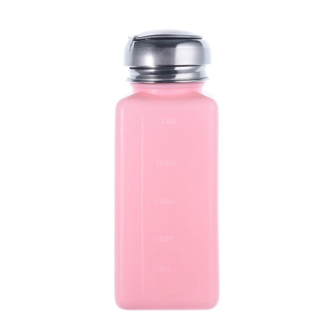 CUHAWUDBA エンプティーポンプディスペンサー ネイルアート研磨リムーバー 200MLボトル用 (ピンク)