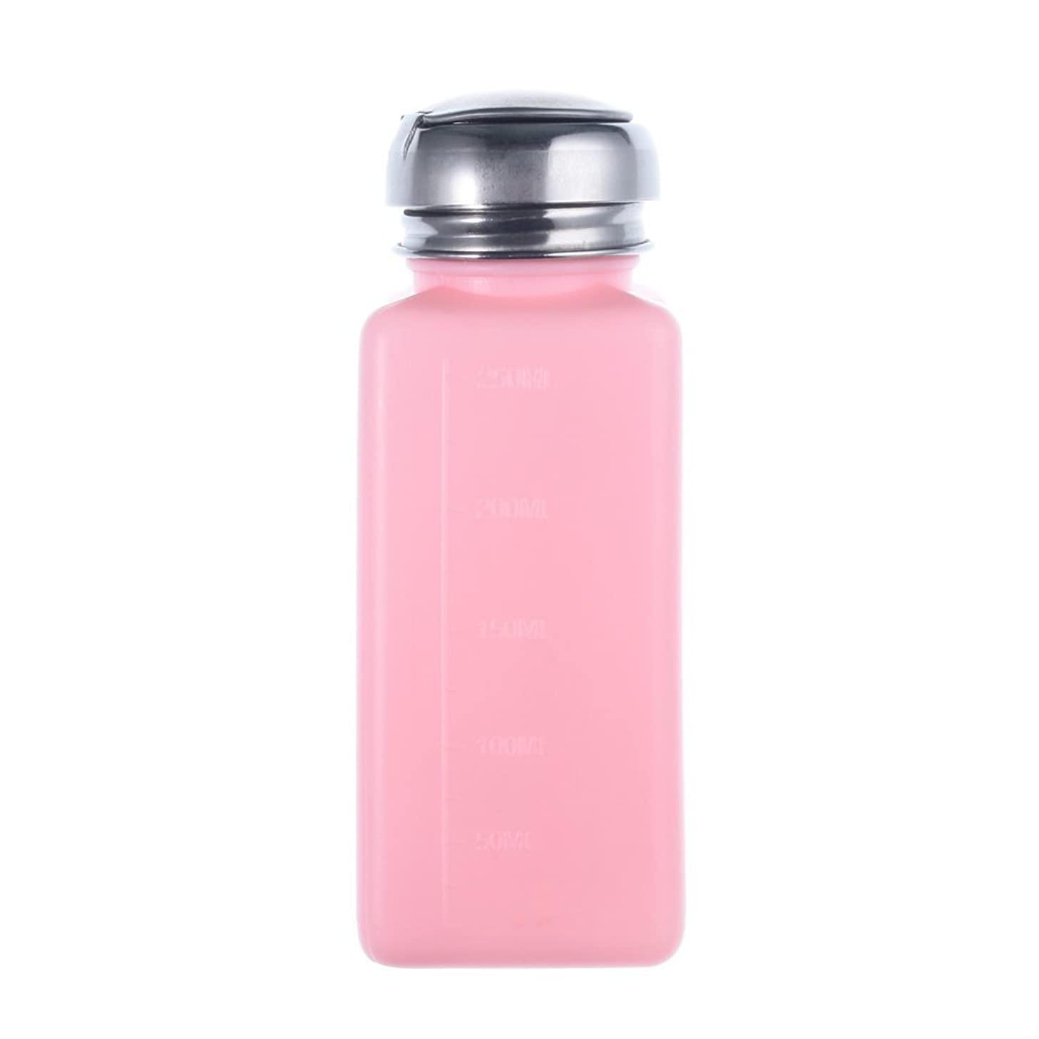 無礼に真珠のような美的Cikuso エンプティーポンプディスペンサー ネイルアート研磨リムーバー 200MLボトル用 (ピンク)
