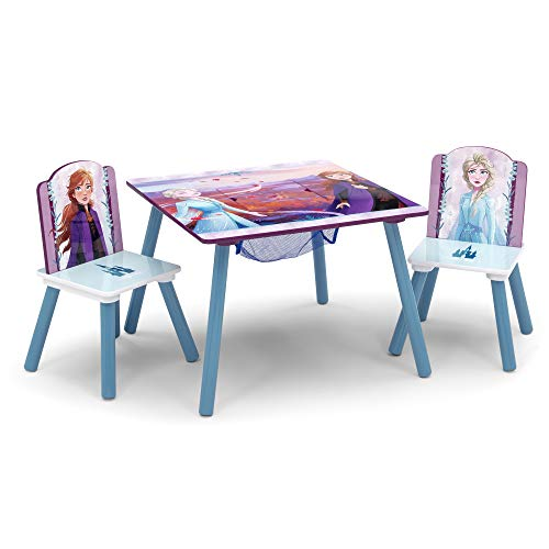 Delta Children Kids Table and Chair Set With Storage (2 Chairs Included) - Ideal for Arts & Crafts, Snack Time, Homeschooling, Homework & More, Disney Frozen II