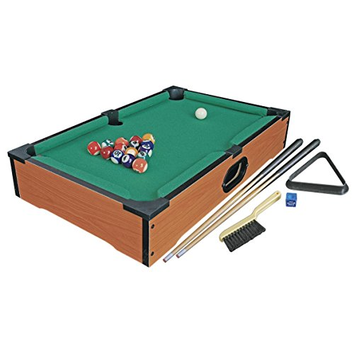 Invero Deluxe Mini Wooden Table Top Pool Table Billiards Snooker Family Fun Game - Complete with 15 Balls, Cue Ball, 2X Cues, Chalk, Cloth Brush and Triangle - 50 x 30 cm
