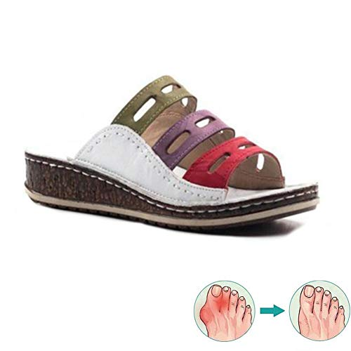 LLKJT Sandalias Mujeres Correctoras Zapatos Ortopédicos Señoras Juanete Corrector Cómoda Plataforma Cuña Casuales,Blanco,39