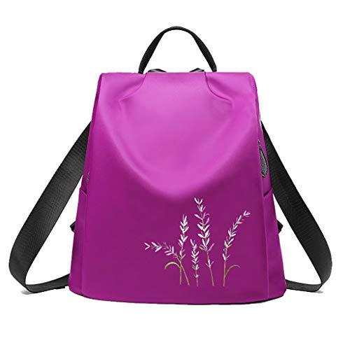 C&S CS Outdoor Sports Rucksack weibliche minimalistischen Blumen Stickerei Anti-Diebstahl Wasserdichte Oxford Stoff Umhängetasche (Color : Purple)