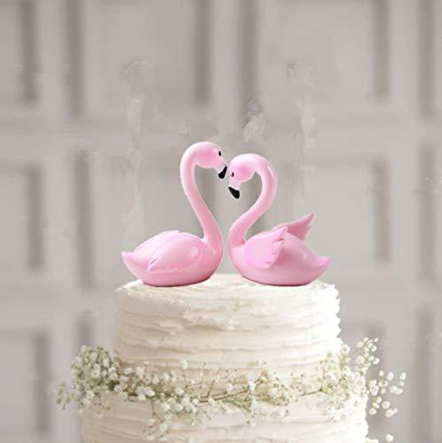 Liefde Vogel Roze Flamingos Bruiloft Taart Topper Bruiloft Feest Taart Decoraties topo de bolo casamento met