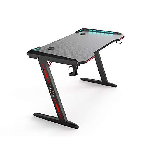 Niono - Mesa de juegos para juegos profesionales con diseño moderno y elegante, para juegos de esports profesionales, escritorio de juegos RGB, perfil LED, soporte para vasos/auriculares