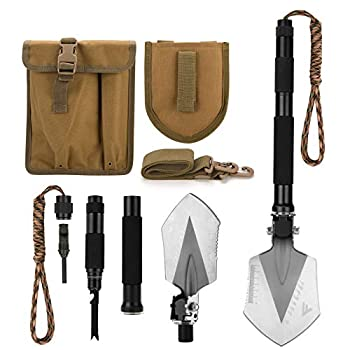 FiveJoy Military Folding Shovel Multitool  C1  - Portable Foldable Survival Tool - Entrenching Backpack Equipment for Hiking Camping Emergency Car - Bushcraft Gear  Shovels and Accessories Tools Kit