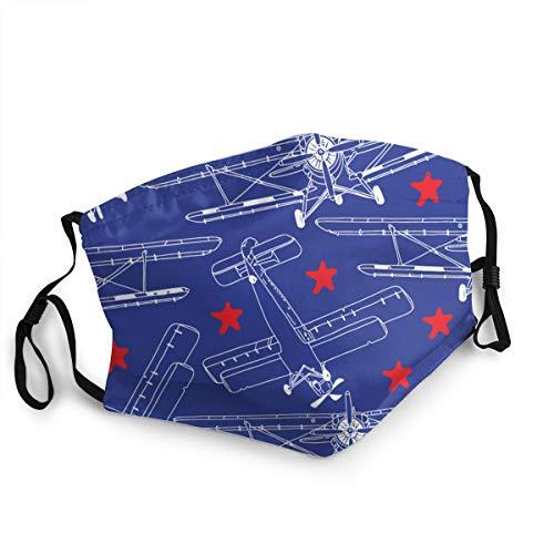 Waschbarer Mundschutz Anti-Staub-Gesichtsschutz,Retro Flugzeuge mit Sternen Vector Seamless Pattern,Wiederverwendbar winddicht für Outdoor-Ski Radfahren Camping Laufen
