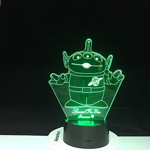 Drie-oogmonster 3D-cartoon-lamp, 7 kleuren, met afstandsbediening, voor kinderkamerdecoratie, nachtlampje, led-lampjes, verbazingwekkend