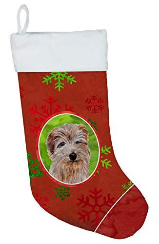 Caroline 's Treasures Norfolk Terrier rot Schneeflocken Urlaub Weihnachtsstrumpf, 27,9x 45,7cm Mulitcolor