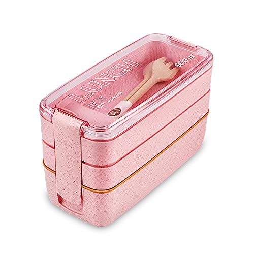 Bento Adults Lunch Box, Iteryn Stackable Bento Box, 3-In-1 Compartment - Wheat Straw, Leakproof Eco-Friendly Bento Lunch Box Meal Prep Containers for Kids