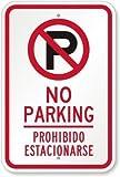Vivityobert No Parking. Señal de metal con texto en inglés 'Prohibido Estacionamiento (with No Parking Symbol), signo de propiedad privada, letrero de advertencia divertido, letrero de metal para pared, decoración del hogar, 12 x 18 pulgadas