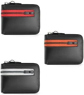 [ユナイテッド オム] 馬革×牛革 ラウンド 二つ折り財布 カラージップテープ (赤?レッド)