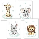 Frechdax - Juego de 4 pósteres Decorativos para habitación Infantil, tamaño DIN A4, diseño de Animales del Bosque, Juego de 4'Menta, Safari, Nube, Estrellas, DIN A4
