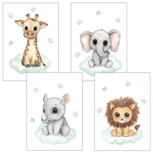 Frechdax® Kinderzimmer Deko 4er Set Poster Baby Wandbilder DIN A4 | Waldtiere Safari Afrika Tiere Tierposter (4er Set Mint, Safari, Wolke, Sterne)