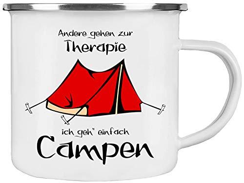Cadouri Camping Emaille Tasse - Andere gehen zur Therapie ich GEH' einfach Campen - Kaffeetasse Campingbecher Outdoortasse - 300 ml