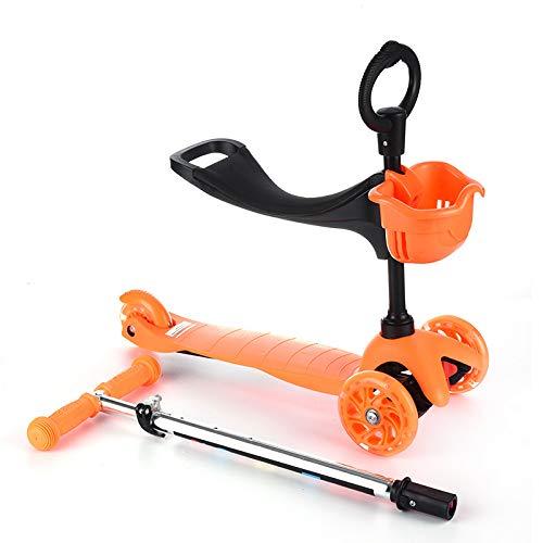 LITIAN Kinder Folding Roller Dreirad-Roller-Flash-Kind-Roller Orange