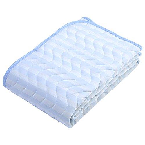 京都 西川 敷きパッド シングル クール ひんやり 接触冷感 洗える 清潔 爽やか ブルー 05603651 シングル:100×205cm