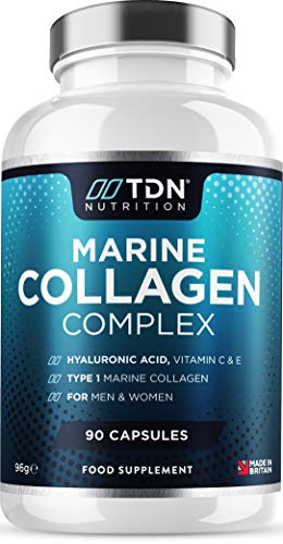 Marine Collagen 1700mg+ Supplement - 90 Capsules - Superior Type 1 Hydrolysed Peptan Collagen Tablets - Enhanced with Hyaluronic Acid, Aloe Vera, Vitamin C, E, B6, B12, D3, Zinc & Selenium - UK Made