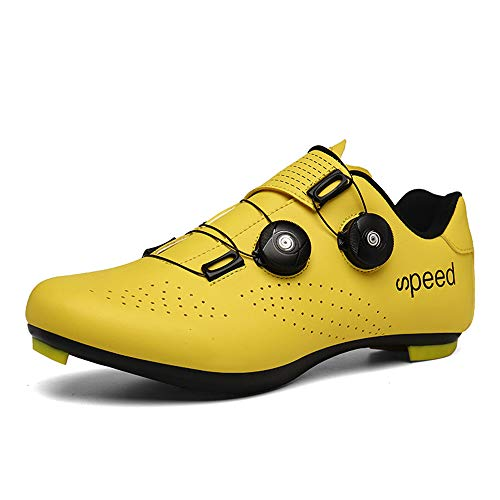 DWZRG Mens Womens Road Bike Cycling Shoes MTB Spin Cycling Shoe with Quick lace Compatible with SPD Cleats Self-Locking (Yellow, 9.5 M US Women/8 M US Men)