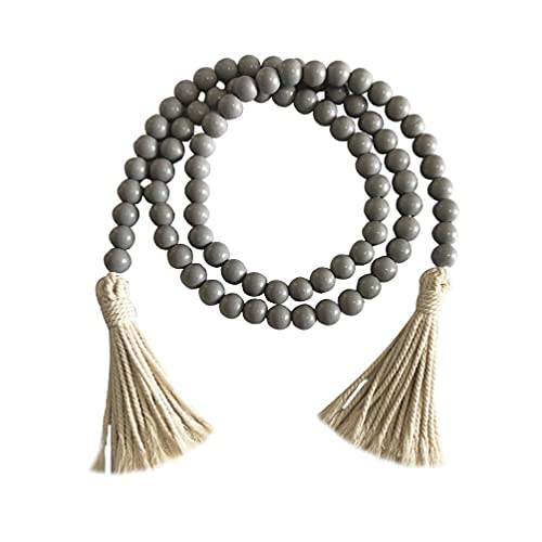 VALICLUD Grey Wooden Beads Garland with Tassels Rustic Wooden Prayer Bead Farmhouse Wall Hanging Garland Prayer Beads Home Decoration