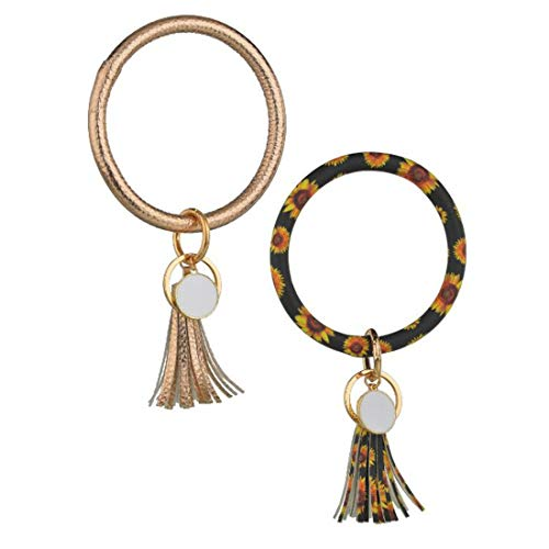 Yefree Damen 2 STÜCK Armband Schlüsselbund Runder Armreif Kristall Quaste Ringkette Autoschlüssel Halter für Frauen Mädchen