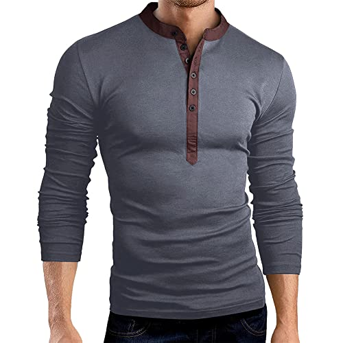 PRJN Camicie da Sera da Uomo T-Shirt Manica Lunga Slim Fit Casual Bottoni Tee Basic Tops Camicetta Casual da Uomo Slim Fit Maglietta Moda Henley Shirt da Uomo con Scollo a V Manica Lunga
