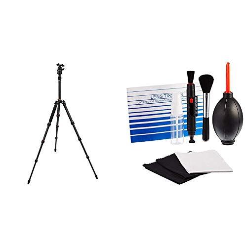 Rollei Compact Traveler No. 1 Carbon - sehr leichtes Reisestativ aus Carbon mit einem Packmaß von nur 33 cm & Amazon Basics - Reinigungsset für DSLR-Kameras und empfindliche elektronische Geräte