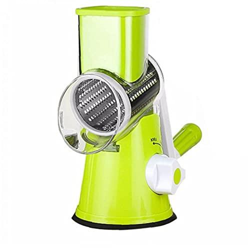 Aardich Manual de Queso rallador de Verduras Cortar giratoria Herramienta de Fruta de la Cocina Trituradora Tambor Rallador con 3 Inoxidable Acero rotativo Conjunto Verde