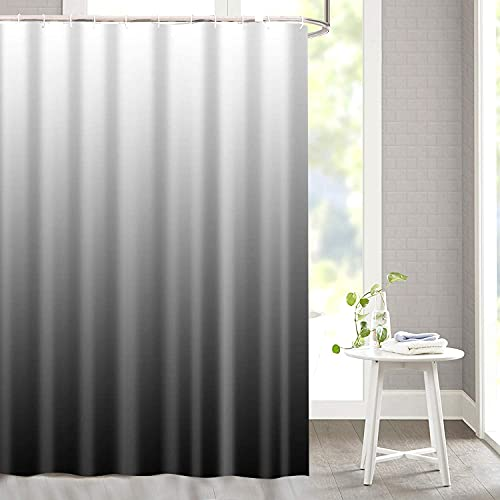 """Bathroom Modern Fabric Shower Curtain Ombre Shower Curtain Sets with 12 Hooks Home Decorations Curtain Machine Washable 72"""" x 72"""" (Black)"""